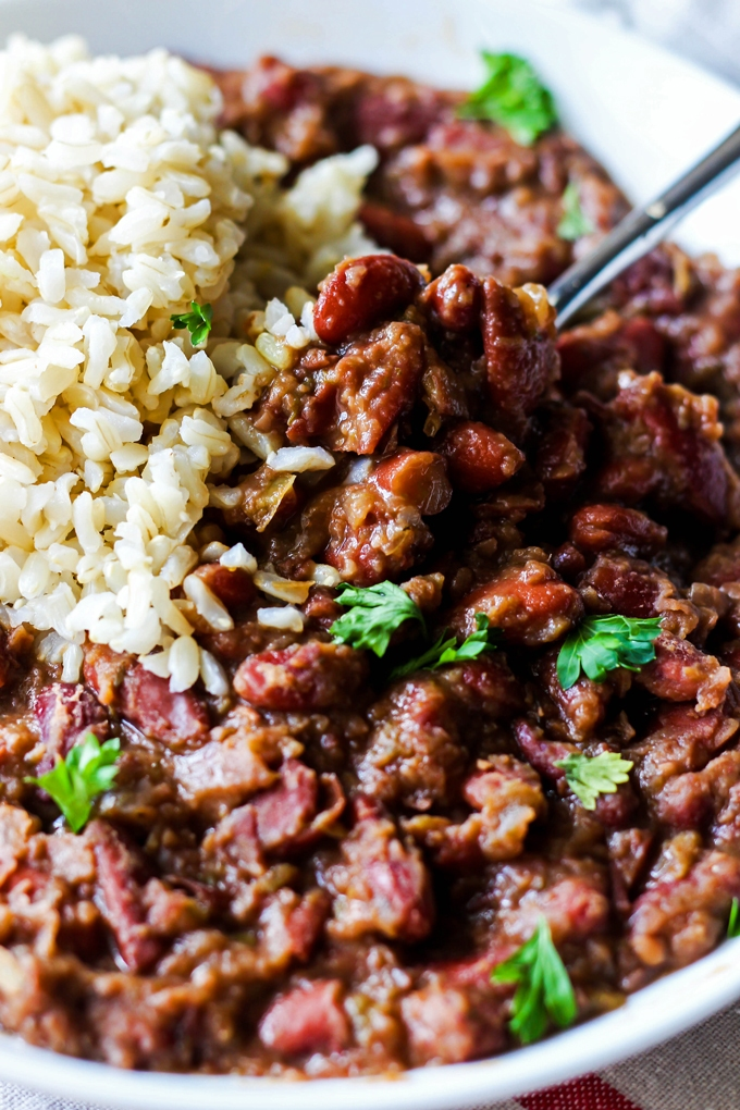 These Cajun-Style Vegan Red Beans and Rice are a healthy version of ...