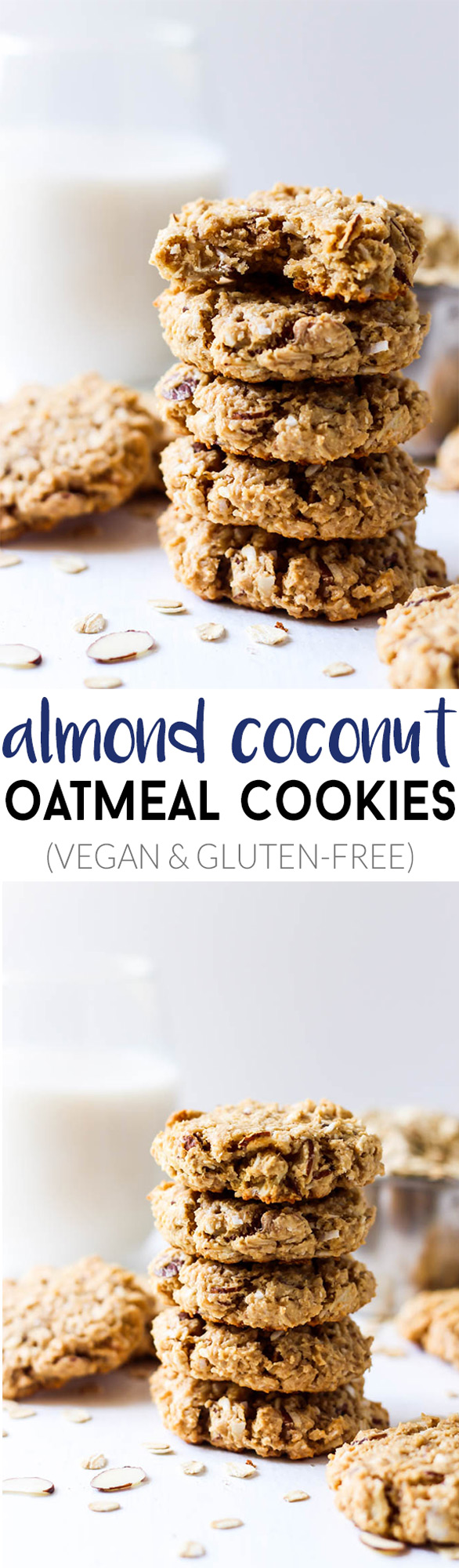 These Almond Coconut Oatmeal Cookies are healthy enough to eat for breakfast or a snack! They're deliciously soft, full of coconut & are vegan/gluten-free.