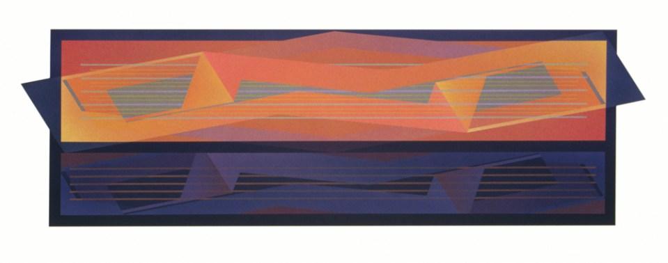 JULIA FARRER Bridge II, 2002, acrylic on plywood, 42 x 135.5cm