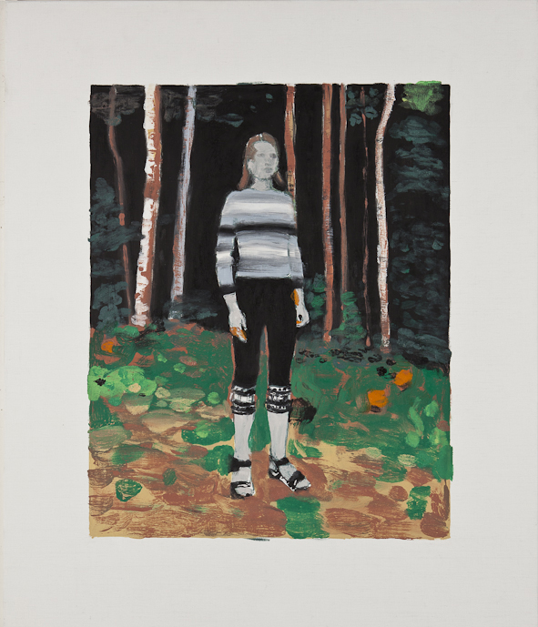 PETER RASMUSSEN Young Woman in Forest, 2011, oil on canvas, 97 x 81.5cm