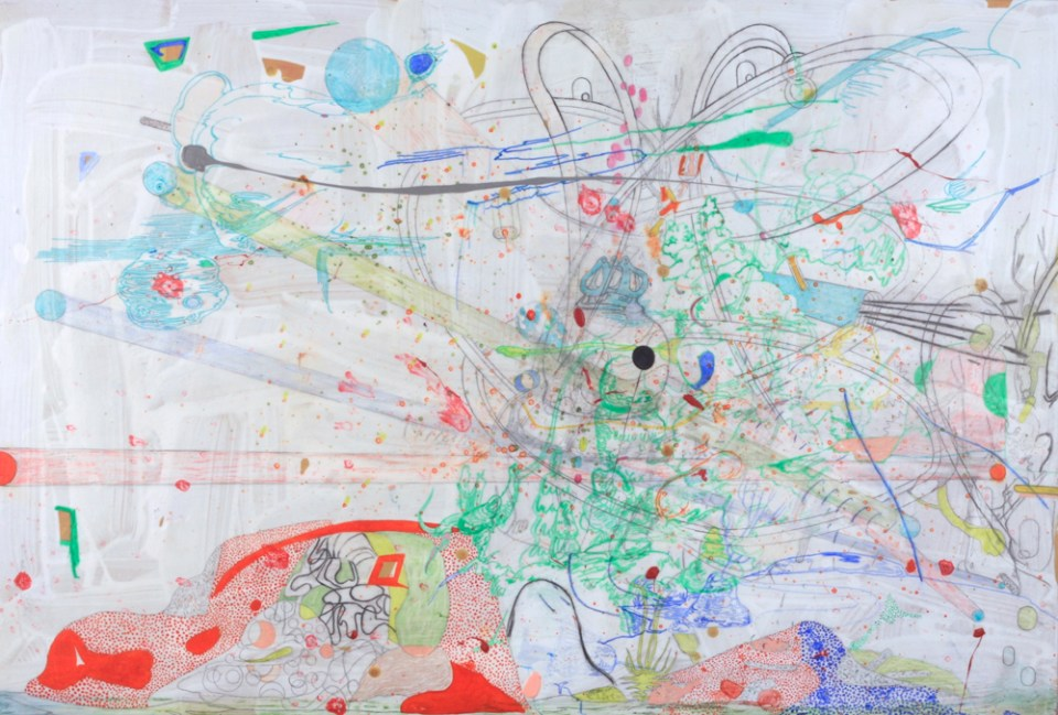 GRAEME TODD, The Hare Hunt, 2015, mixed media on panel 75 x 110cm