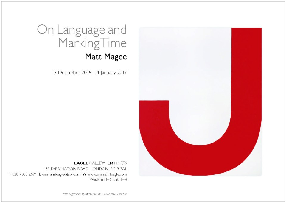Current exhibition: On Language and Marking Time, Matt Magee, 2 December 2016 - 14 January 2017