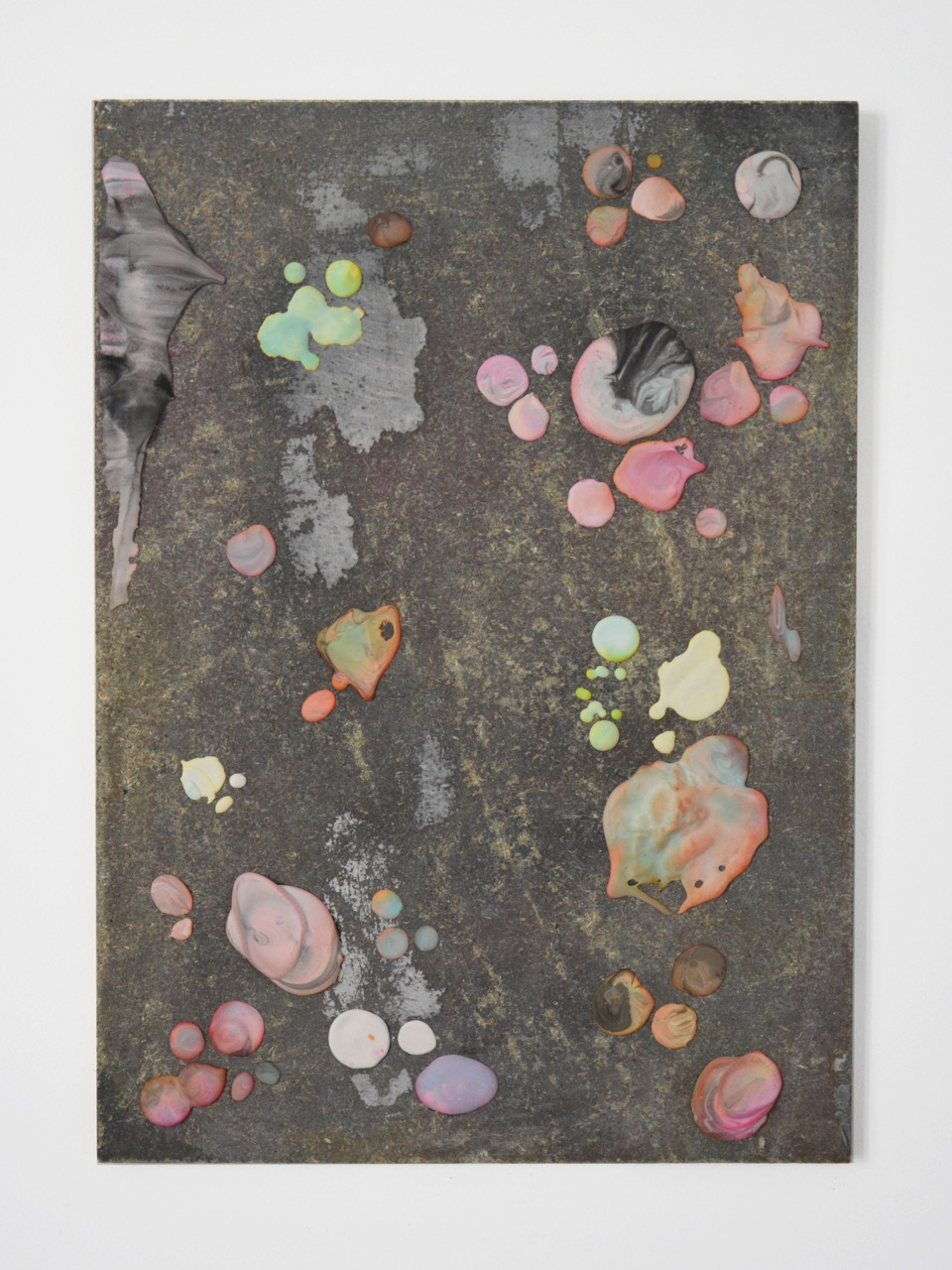 FABRICE CAZENAVE Sliders (21), 2015, Dried drips of coloured plaster, glue, wood, 42 x 30cm