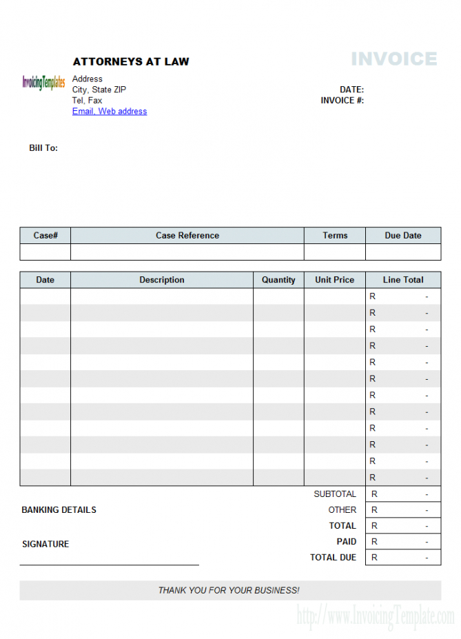 Attorney Invoice Template (South Africa Currency) Legal Billing