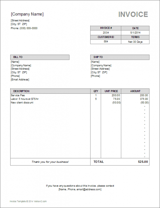 Water Bill Invoice Template - template for a billing invoice