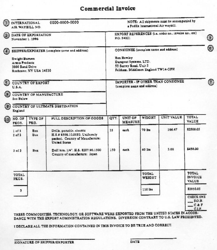 Air Freight Invoice Template