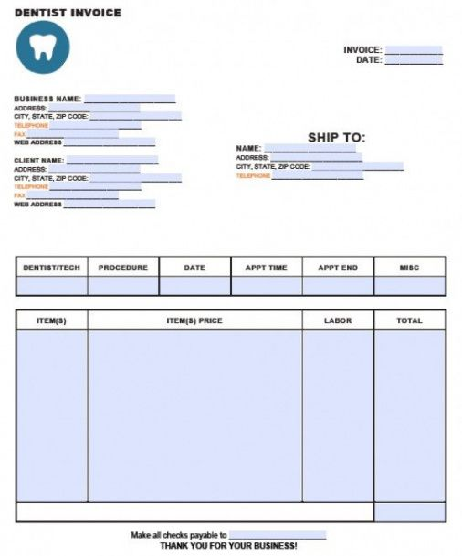 Free Dental Invoice Template Excel Pdf Word (doc) Dental