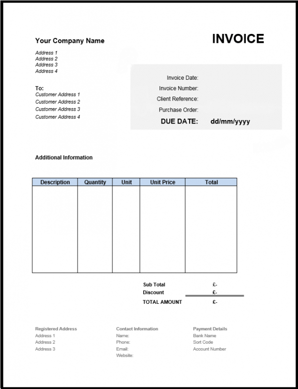 Free Invoice Template Uk Use Online Or Download Excel  Word Sole