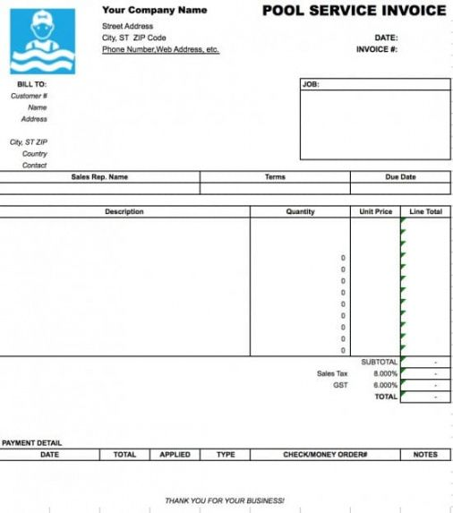 Free Pool Service Invoice Template Excel Pdf Word (doc) Pool