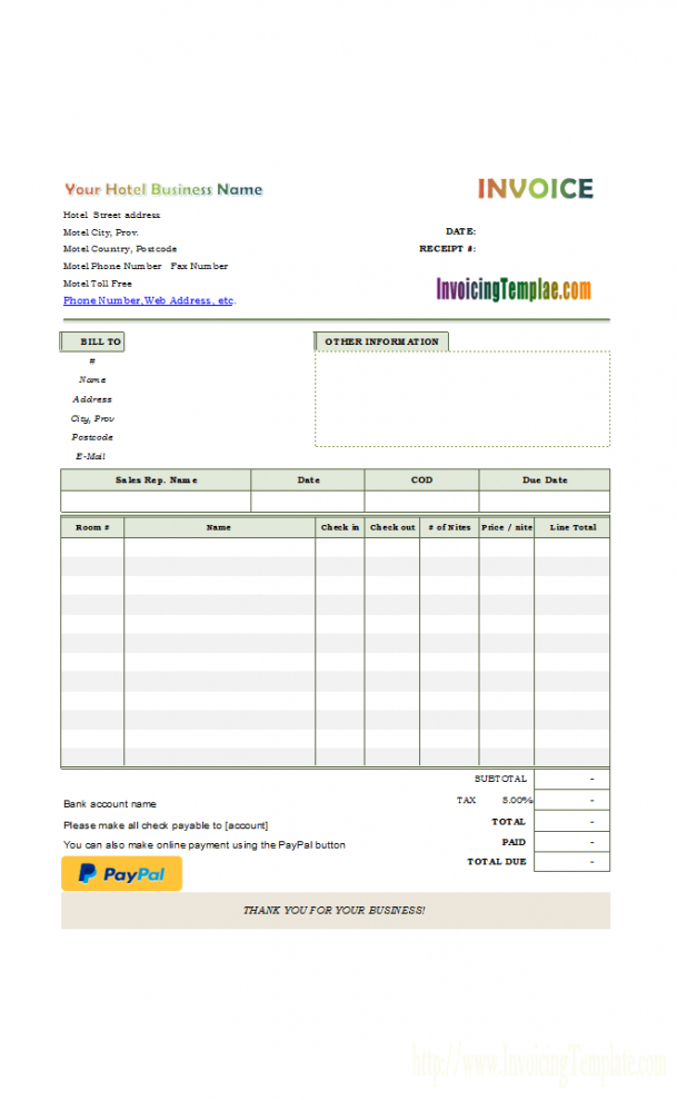 Hotel Bill Format With Online Payment Button Hotel Billing Invoice - Billing Receipt Template