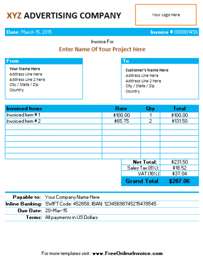 Invoice Template For Advertising Agency/company Service Invoices - service invoices