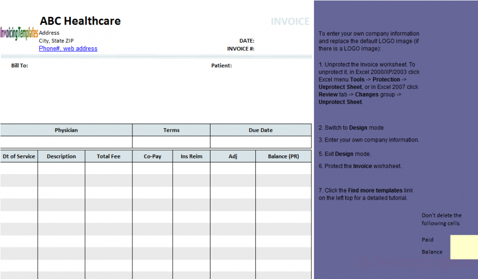 Medical Invoice Template (1) Medical Bill Invoice Template \u2013 Emmanuel - Medical Invoice