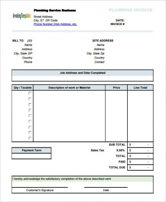Plumbing Service Invoice Template With Sales Tax , Invoice Template