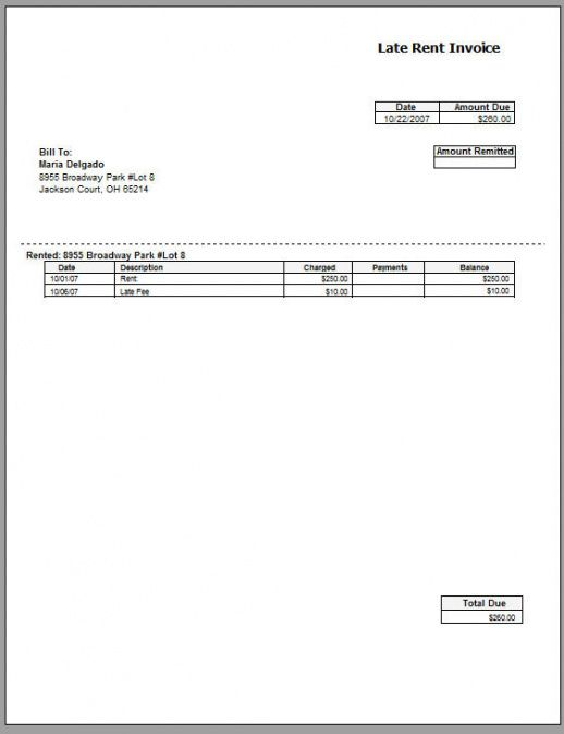 Rent Invoice Template Free Printable Invoice Commercial Property - rent invoice