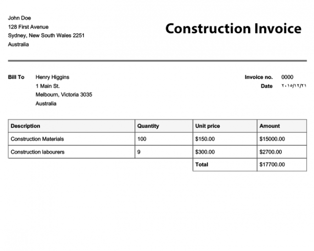 Tax Invoice Template Free Invoice Templates Online Invoices Free - construction invoice example