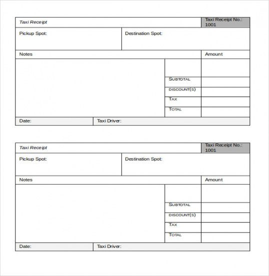 Taxi Receipt Template \u2013 20+ Free Word, Excel, Pdf Format Download