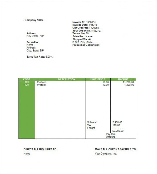 Travel Invoice Templates \u2013 18+ Free Word, Excel, Pdf Format Download
