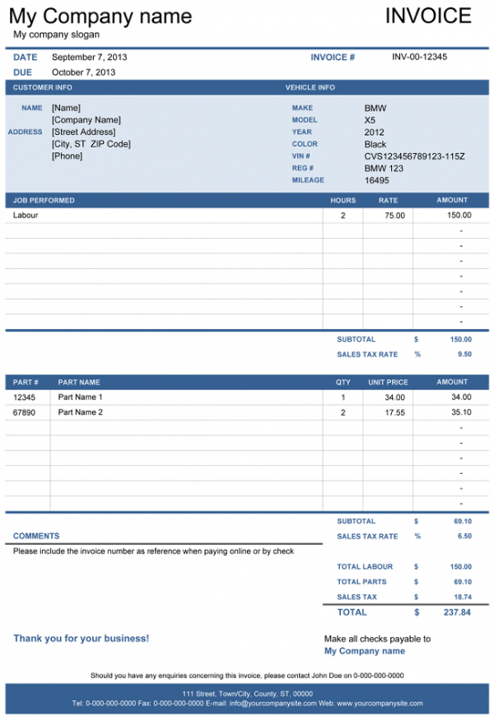 Vehicle Repair Invoice Free Template For Excel Free Printable Auto