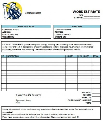 Electrical Work Invoice Template