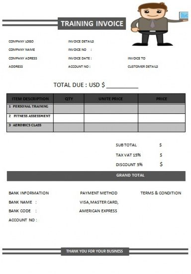 30 Personal Training Invoice Templates For Professionals \u2013 Demplates - personal invoice