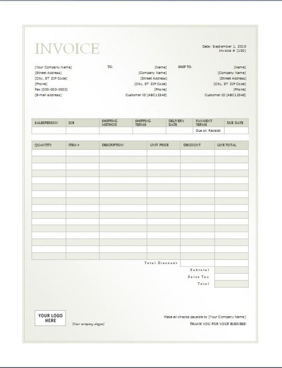 Cash Invoice Template \u2013 Printable Word, Excel Invoice Templates Cash
