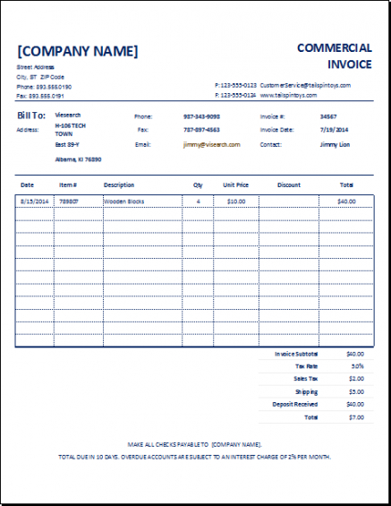 Export Commercial Invoice Template Customizable Commercial Invoice
