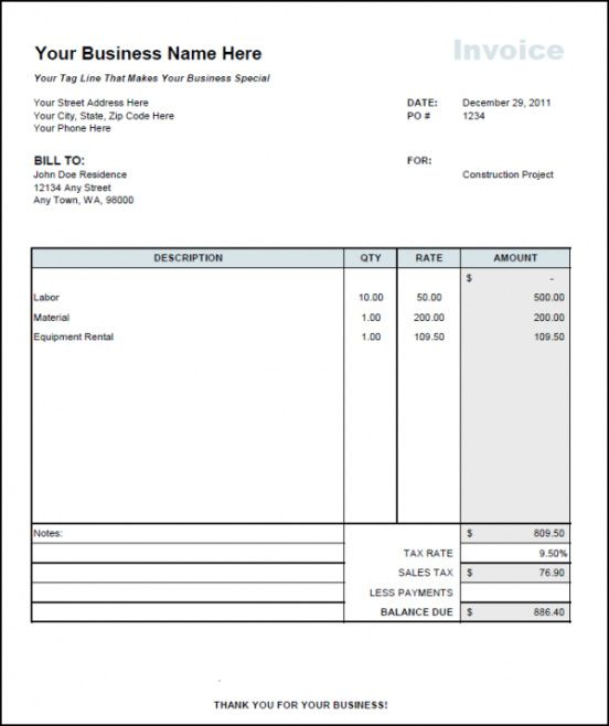 Rent Invoice Format In Excel Rental Invoice Template Excel Invoice