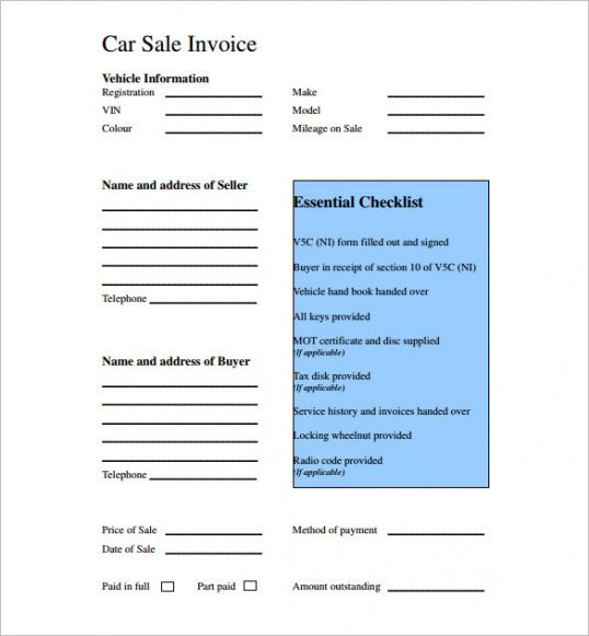 Used Car Sales Invoice Template Uk Invoice Example Used Car