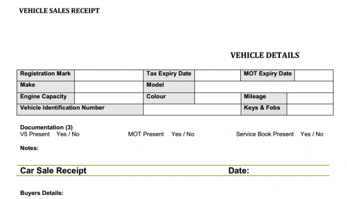 Used Car Sales Receipt Template Free Flipping Cars Motor Trade