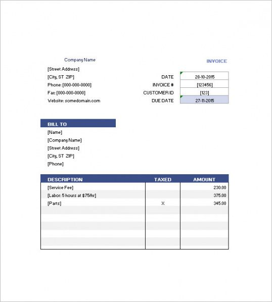 Guest House Invoice Template - hotel invoices