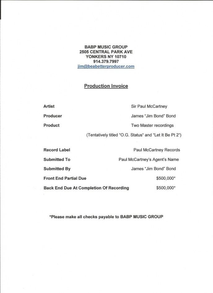 Music Production Invoice Template
