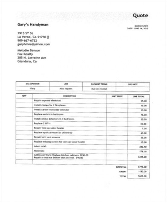 6 Handyman Invoice Template \u2013 Free Sample, Example Format Download