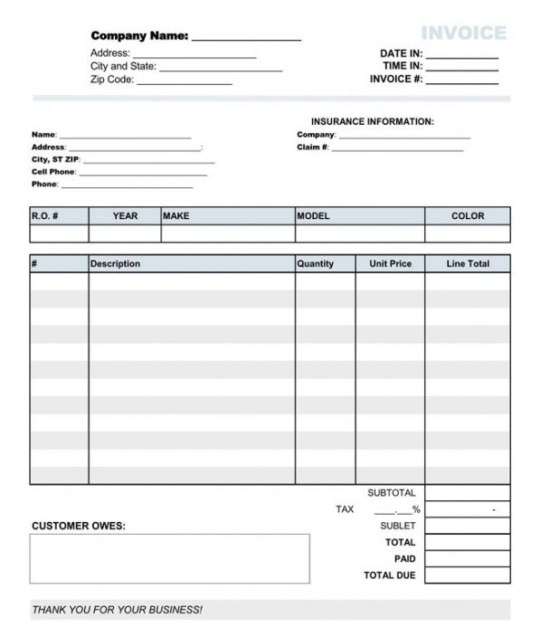 Auto Repair Invoice Templates \u2013 10+ Printable And Fillable Formats