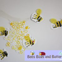 Bottle Top Beehive and Hand Print Bees!