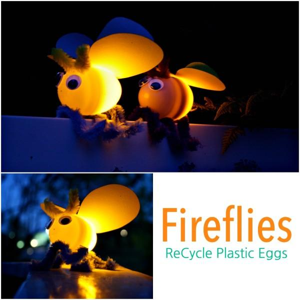 Fireflies using plastic eggs