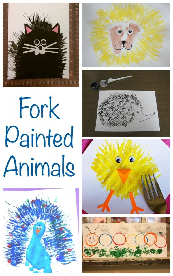 Fork Painted Animals. Great Painting projects for kids