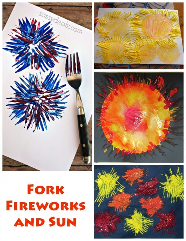 Painting with Forks - fireworks and suns