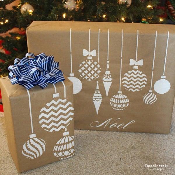 christmas-ornaments-stencil-craft-diy-stenciled-gift-wrap-2