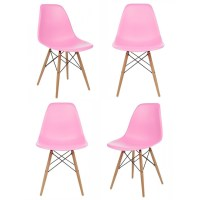 Set of 4 Eames Style DSW Molded Pink Plastic Dining Shell ...