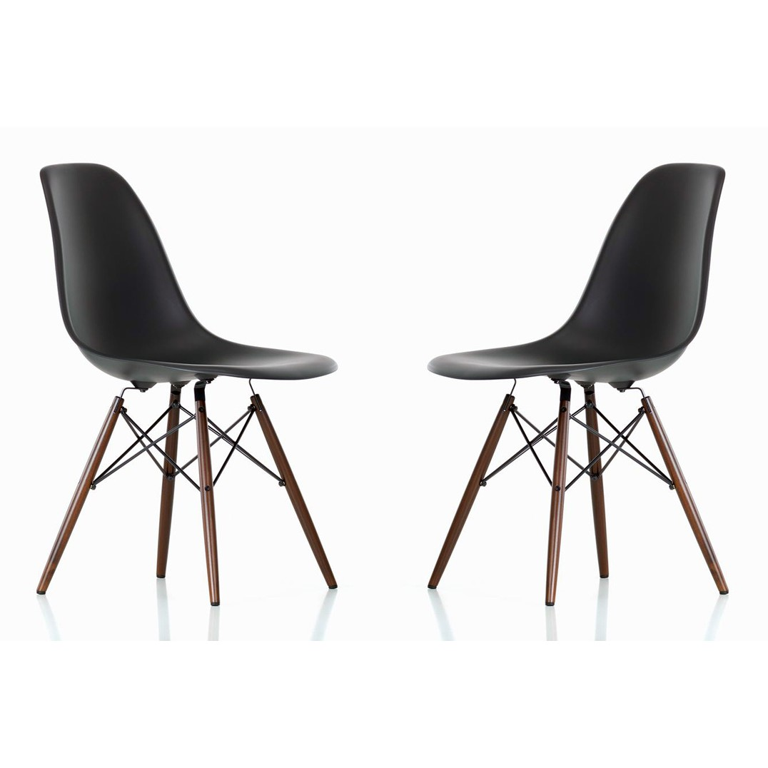 Set Of 2 Eames Style Dsw Molded Black Plastic Dining Shell