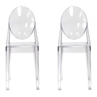 Set of 2 Victoria Style Ghost Dining Chair Clear Color