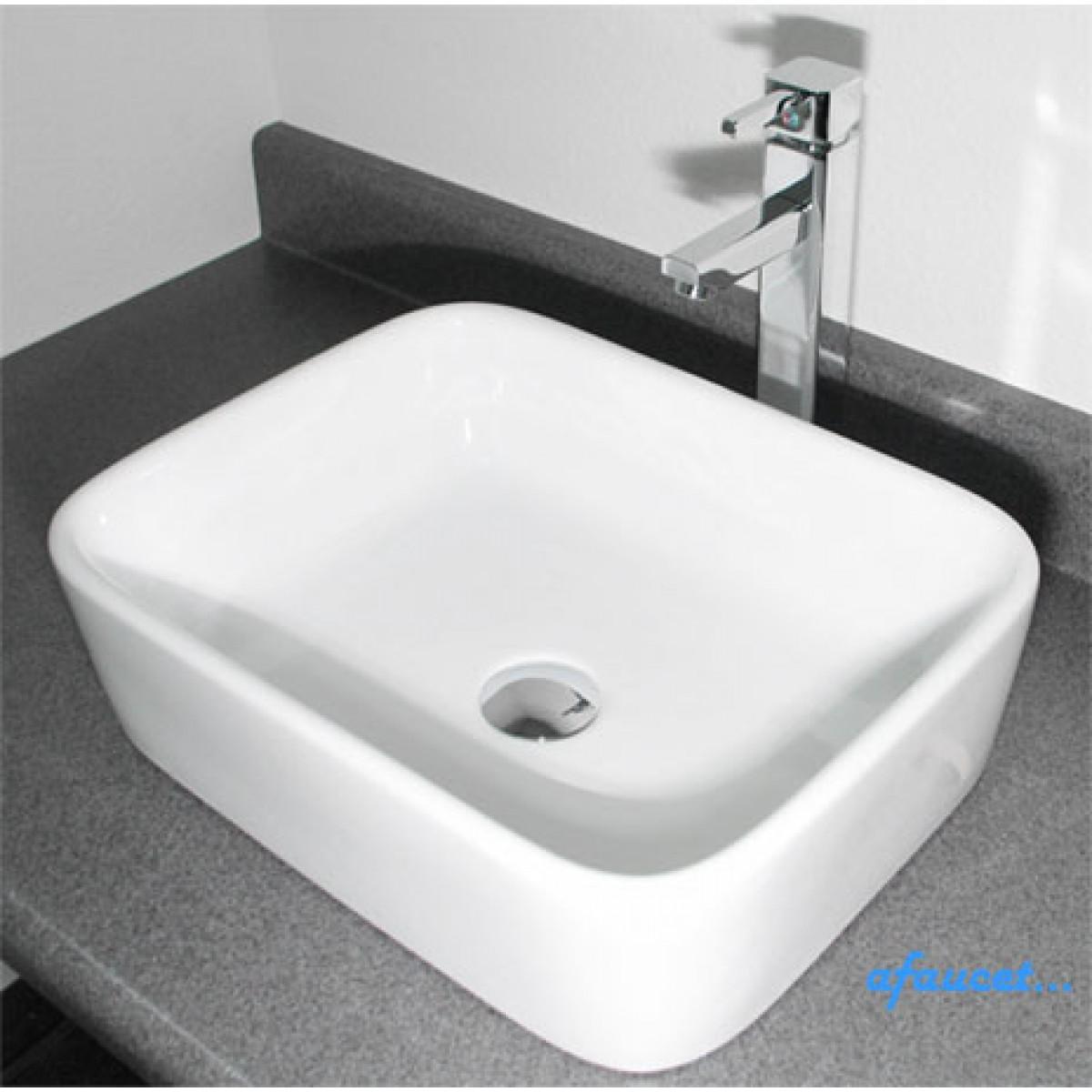 Rectangular White Porcelain Ceramic Countertop Bathroom