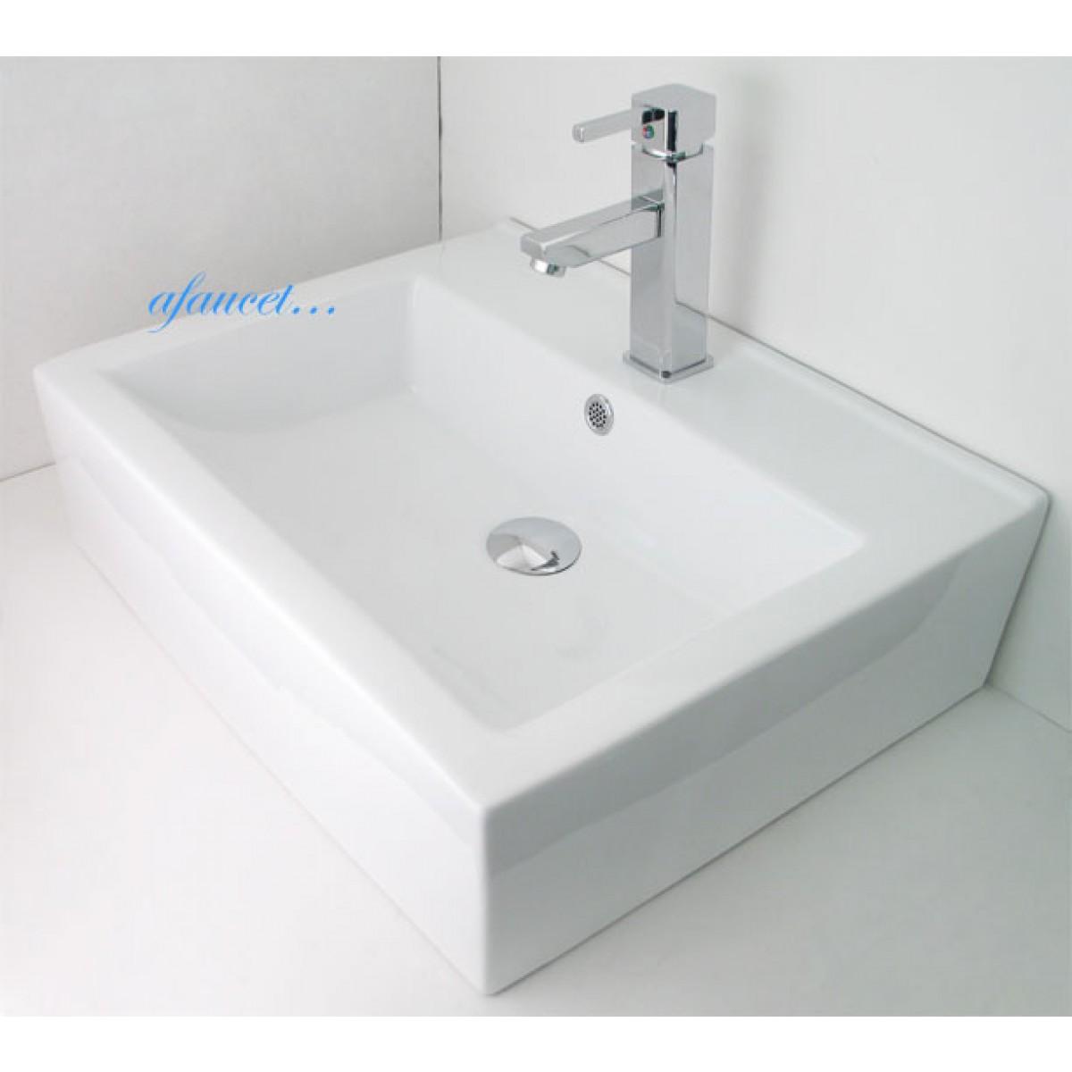 Rectangular Porcelain Ceramic Single Hole Countertop