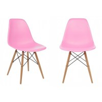 Set of 2 Eames Style DSW Molded Pink Plastic Dining Shell ...