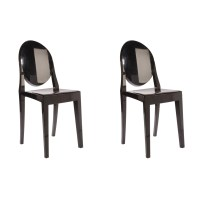 Set of 2 Victoria Style Ghost Dining Chair Black Color