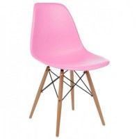 Eames Style DSW Molded Pink Plastic Dining Shell Chair ...
