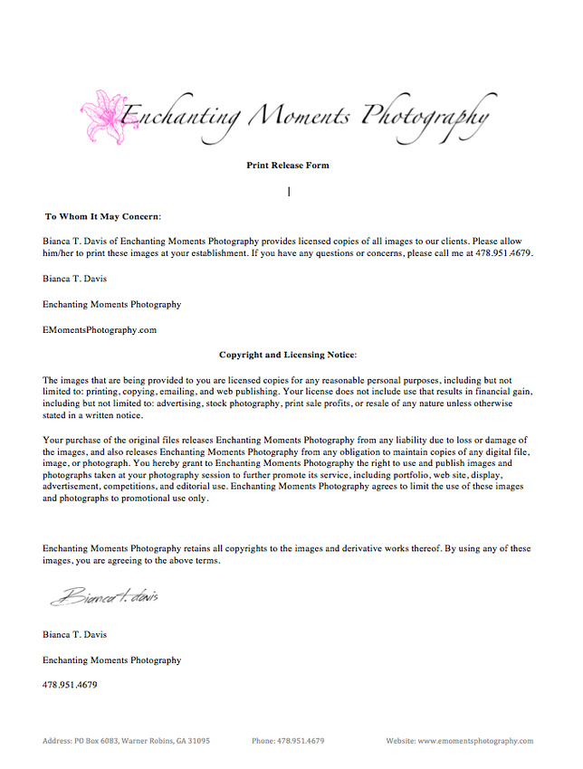 Enchanting Moments Photography Print Release Form - print release form