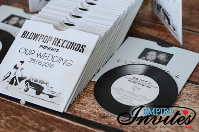 White Vintage Vinyl Record Themed Wedding Invitations