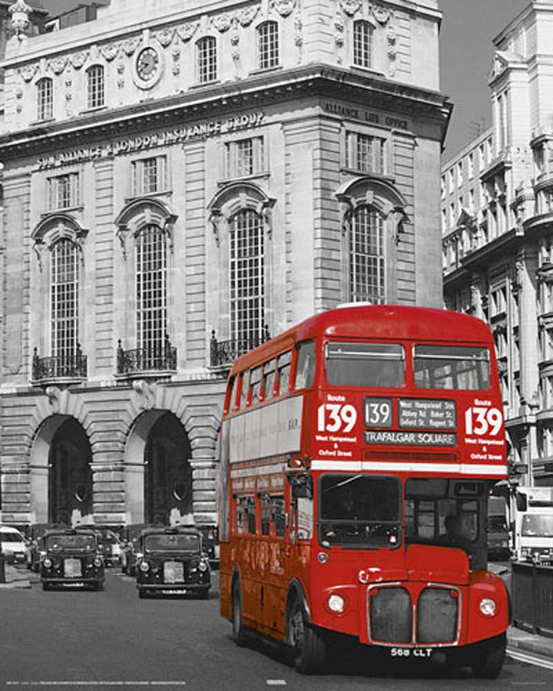 Black And White Gothic Wallpaper London Roter Bus Linie 139 Mini Poster 40x50