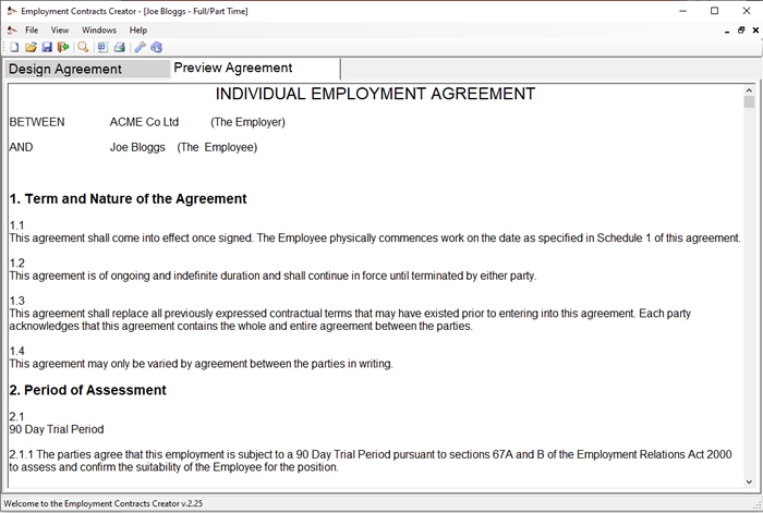 Employment Contract Template Builder - Download Online - labour contract template